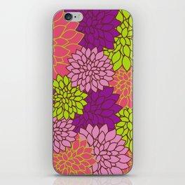 Dahlia Flowers, Blossoms - Pink Purple Green iPhone Skin