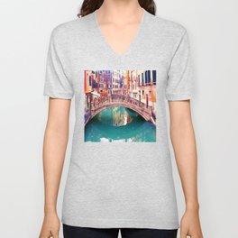 Small Bridge in Venice Unisex V-Neck