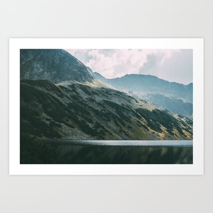 Moody Mountain Hill And Lake Art Print