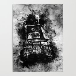 chair at lost place splatter watercolor black white Poster