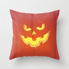 Evil Pumpkin Face (Halloween) Throw Pillow