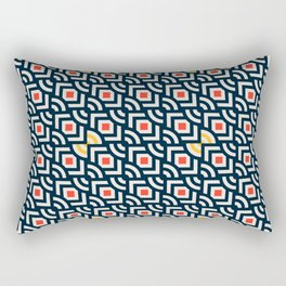 Round Pegs Square Pegs Navy Blue Rectangular Pillow