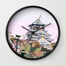 Geometric Osaka castle, Japan Wall Clock