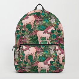 Rose Gold Unicorns in a Garden Backpack