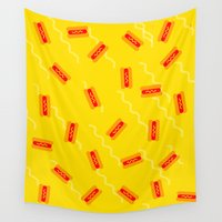 hot dog Wall Tapestries featuring HOT DOG by SUPAKID