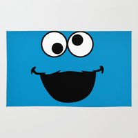 cookie monster Area & Throw Rugs featuring Cookie Monster by Adel