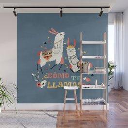 Como te Llamas. Funny Spanish Word Humor. Flowers and two Llamas Wall Mural