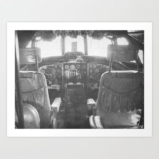 Cockpit Vintage Plane Art Print