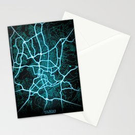 Vilnius, Lithuania, Blue, White, Neon, Glow, City, Map Stationery Cards