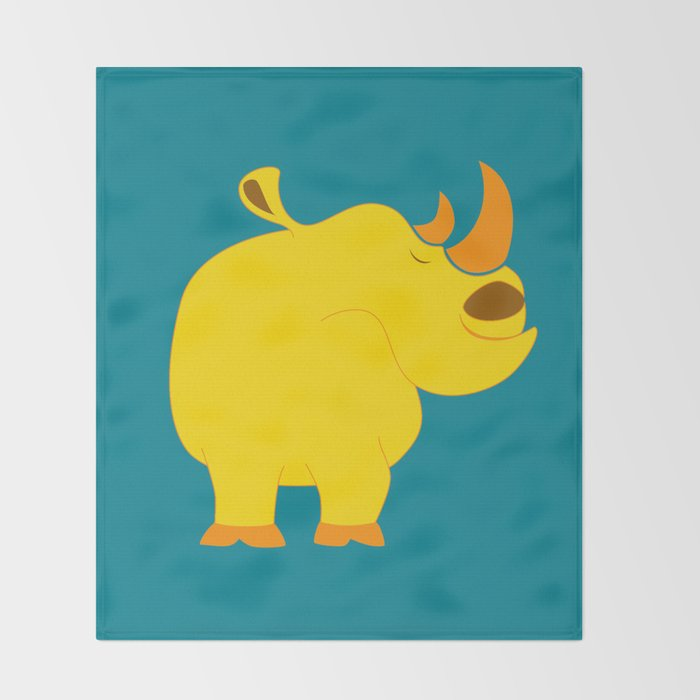 Happy rhino Throw Blanket