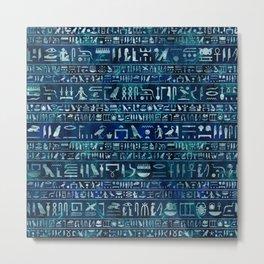 Egyptian hieroglyphs -silver on blue painted texture Metal Print