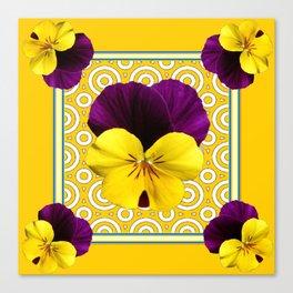 Golden Modern Art Deco Purple Pansy Pattern Art Canvas Print