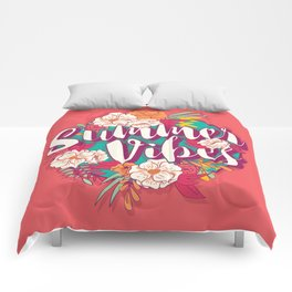 Summer vibes typography banner round design in tropical flower frame 002 Comforters