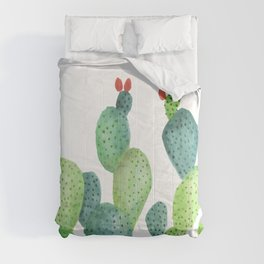 Prickly Pear Cactus in White Comforters