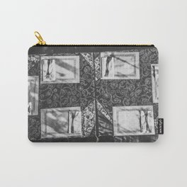 dining table with classic tablecloth in black and white Carry-All Pouch