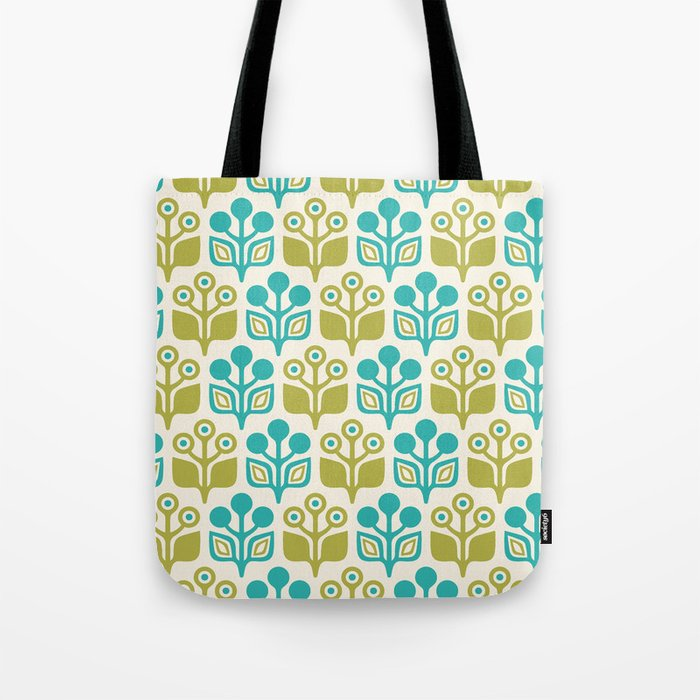 Mid Century Garden Flower Pattern Turquoise Chartreuse Tote Bag