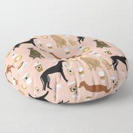 Greyhound coffee dog breed illustration dog art custom dog breeds groundhound rescue dog lovers Floor Pillow