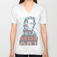 mozart V-neck T-shirts featuring Wolfgang Amadeus Mozart by César Padilla