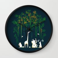 forest Wall Clocks featuring Re-paint the Forest by Picomodi