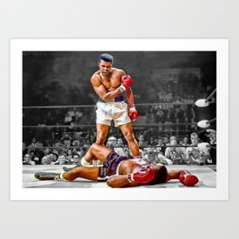 Mama Said I'm Gonna Knock You Out - Ali Knocks out Liston Boxing Portrait Painting oil on canvas Art Print