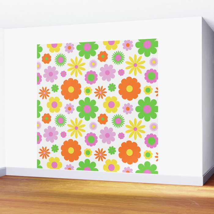 Vintage Daisy Crazy Floral Wall Mural