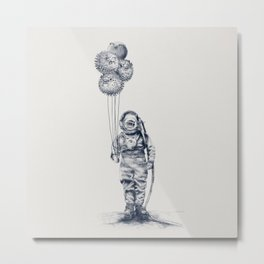 Balloon Fish - monochrome option Metal Print