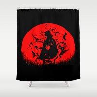 sasuke Shower Curtains featuring Red Moon Itachi by jpmdesign