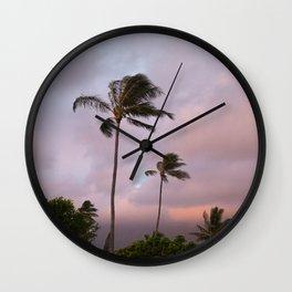 Palm Trees (04) at Sunrise, Hawaii Wall Clock
