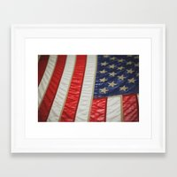american flag Framed Art Prints featuring American Flag by alltheprettythings