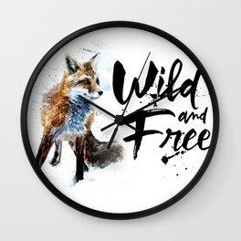Fox wild & free watercolor painting Wall Clock