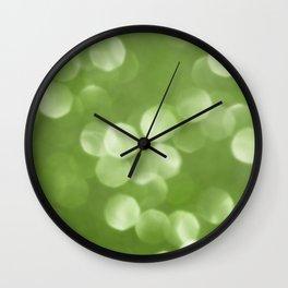Sparkly Greenery Pantone bokeh Wall Clock
