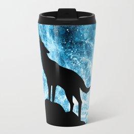 Howling Winter Wolf snowy blue smoke Travel Mug