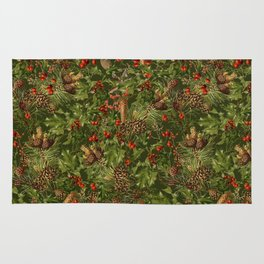 Traditional Holly Christmas Pattern Rug