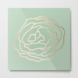 Rose White Gold Sands on Pastel Cactus Green Metal Print