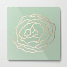Rose White Gold Sands on Pastel Cactus Green Metal Print
