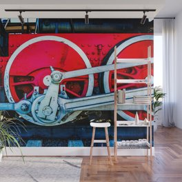 Red Wheels And White Rods Of A Vintage Steam Train Locomotive Wall Mural