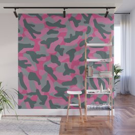 Pink Grey Gray Camo Camouflage Wall Mural