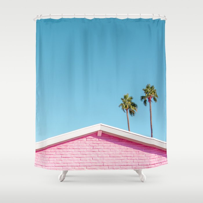 Pink House Roofline with Palm Trees (Palm Springs) Shower Curtain
