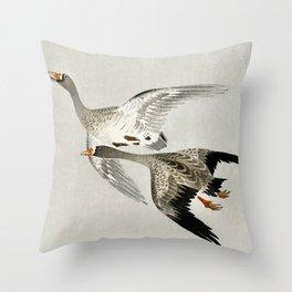 Geese mid flight - Vintage Japanese Woodblock Print Throw Pillow