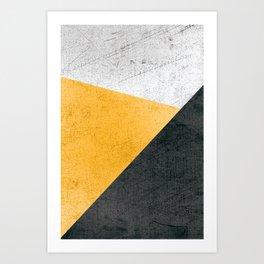 Modern Yellow & Black Geometric Art Print