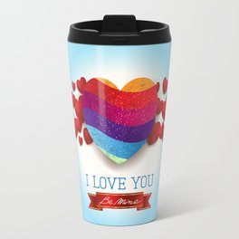 Love heart in blue Travel Mug