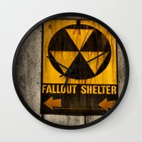 fallout Wall Clocks featuring Fallout Shelter by Julie Maxwell