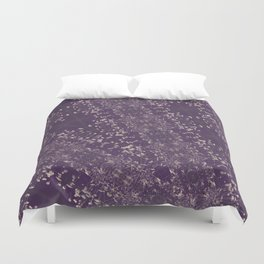 Queen Anne's Lace Duotone Botanical Antique Ivory on Faded Aubergine Duvet Cover