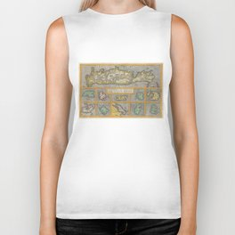 Vintage Map of The Islands of Greece (1584) Biker Tank