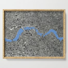 Map of London Thames Drawing Serving Tray