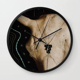 Buffalo Skull & Turquoise Wall Clock