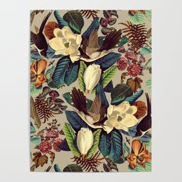 FLORAL AND BIRDS XXI-II Poster