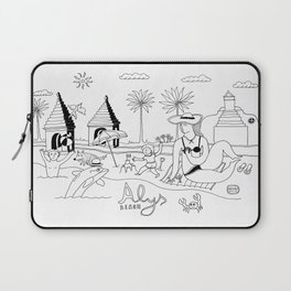 Funny Figurative Line Drawing of Alys Beach Community on 30a Laptop Sleeve