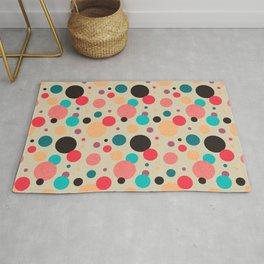Multicolored Geometric Polka Dot Pattern Rug