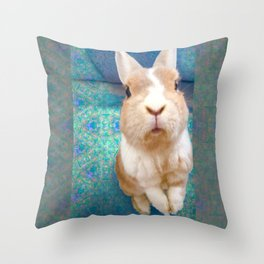Blue Bunny Throw Pillow